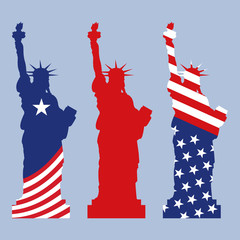 Statue of Liberty with flag USA. Vector illustration