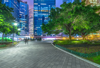 Fototapete - brick city road near modern building