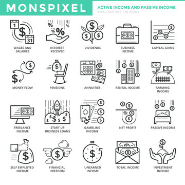 Flat thin line Icons set of Active Income and Passive Income. Pixel Perfect Icons. Simple mono linear pictogram pack stroke vector logo concept for web graphics.