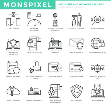 Flat thin line Icons set of Anti Virus and Network Security for Web Development. Pixel Perfect Icons. Simple mono linear pictogram pack stroke vector logo concept for web graphics.