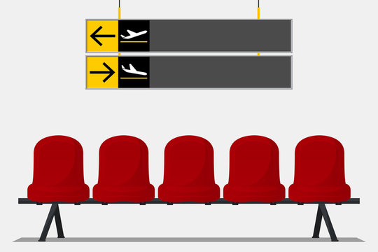 Red airport seat in waiting area and wayfinding signage. Flat design. Vector Illustration.