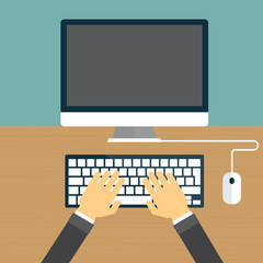 Computer workplace. Hands on computer keyboard. Flat design