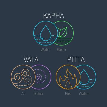 Ayurveda vector elements and doshas on dark bacground