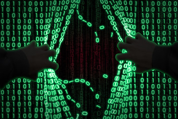 the concept of computer security. The hacker enters the computer, breaks binary data