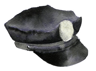 watercolor sketch of police cap on white background