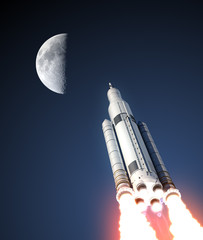 Fototapete - Space Launch System And Moon