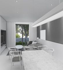 3d rendering beautiful dining room and down light