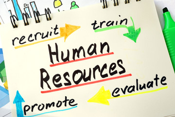 Sign Human resources on a page of notebook.