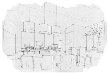 sketch stripes dining & living, black and white interior design.