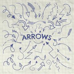 Set of Vector Pen Drawing Arrow Shaped Elements