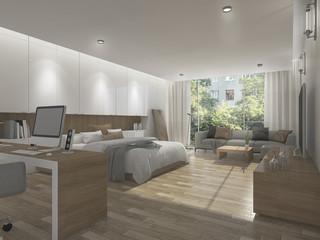 3d rendering wide beautiful bedroom with outdoor background