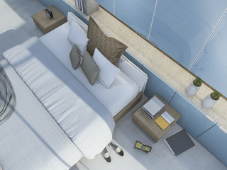 3d rendering top view nice blue bedroom with some decoration