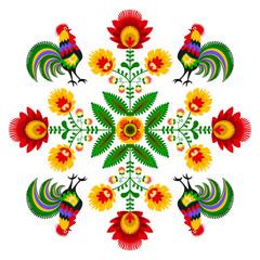 Polski folklor - wzór z kogutami i kwiatami