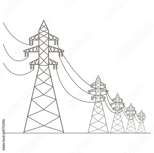 High Voltage Electric Line Pylon Icon Set Suitable For Creating