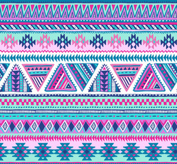 Colorful vector seamless pattern with hand drawn ethnic elements.