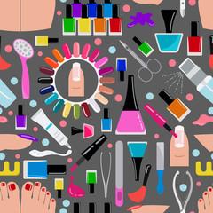 Manicure, nail salon. Seamless pattern