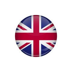Flag of United Kingdom. A round button with a glare. Round Flag emblem.