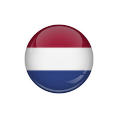 Flag of Holland. A round button with a glare. Round Flag emblem.