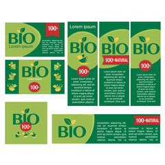 Bio products stickers, labels and banners, vector design
