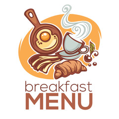 breakfast menu,  vector illustration of traditional morning food