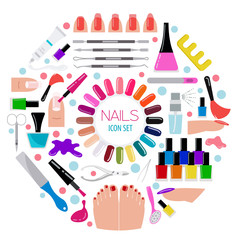 Manicure, nail salon. Icon set