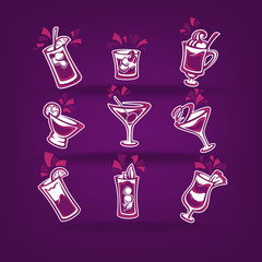 vector cocktails collection for your party menu on  dark violet