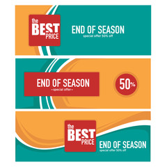 end of season, summer sale and discount banner template collecti