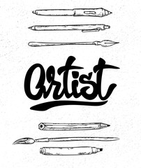 Artist lettering, Fountain pen and Brush, tools.