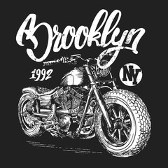 brooklyn motorcycle t-shirt graphic