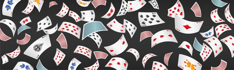 Poker card scattered banner