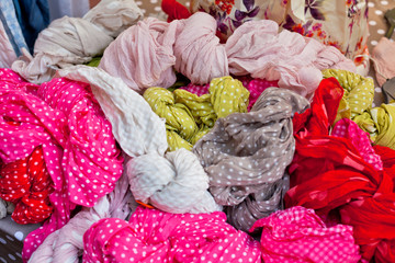 Colorful women scarves at a market