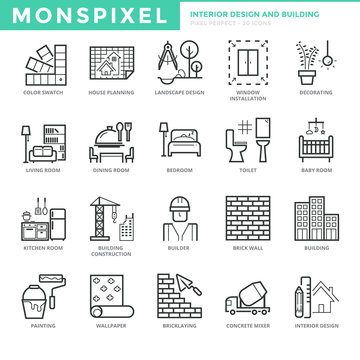 Flat thin line Icons set of Interior Design and Building. Pixel Perfect Icons. Simple mono linear pictogram pack stroke vector logo concept for web graphics.