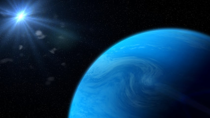 blue gassy exoplanet lit by a nearby star