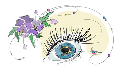 sketch of female eye with flowers