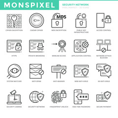 Flat thin line Icons set of Security Network. Pixel Perfect Icons. Simple mono linear pictogram pack stroke vector logo concept for web graphics.