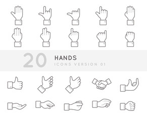 Flat thin line Icons set of Hands. Simple mono linear pictogram pack stroke vector logo concept for web graphics.