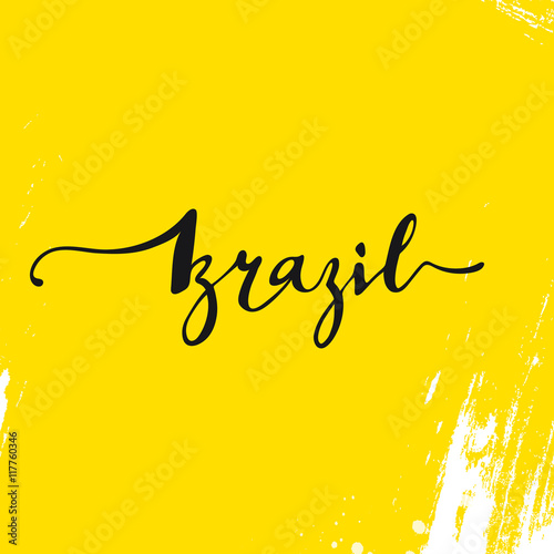 Quot inscription brazil background yellow calligraphy