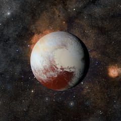 Solar system planet Pluto on nebula background. Elements of this