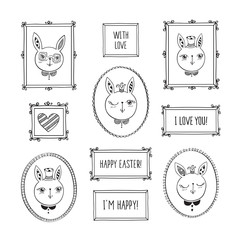 Happy Easter. Set of hand drawn decorative vintage photo frames with cute rabbits. Doodles, sketch for your design. Isolated on white. Vector illustration.