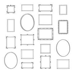 Set of hand drawn decorative vintage photo frames. Doodles, sketch for your design. Vector illustration.