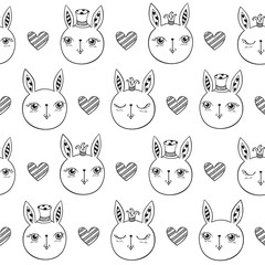 Seamless pattern with cute rabbits and hearts. Wrapping paper, cloth. Hand drawing. Vector.