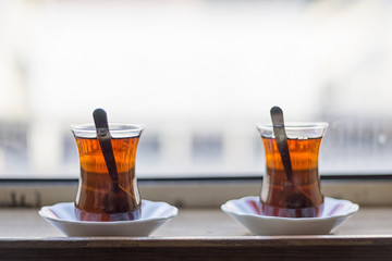 Turkish Teas In Front Of A Blurry Window