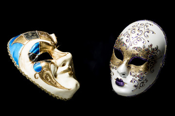 Theater concept with traditional Venice Masks on Black Background