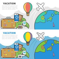 Flat Line Vector Banner about Vacation and Travel. Pictogram pack vector logo concept for web graphics.