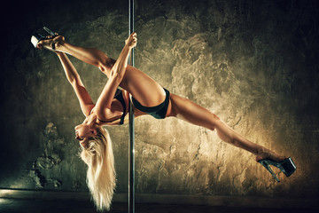 Pole dancing woman