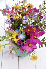 Fototapete - Grußkarte - fröhlich bunter Sommerstrauß - Blumenstrauß
