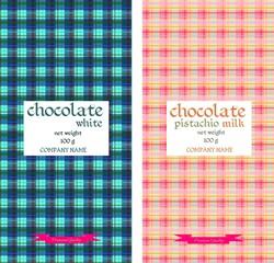Chocolate packaging design. Colorful tartan pattern. Vector illustration
