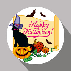 "Round label with black cat in witch hat, pumpkin and hand drawn text ""Happy Halloween!"" Original design element for greeting cards, invitations, prints. Vector clip art."