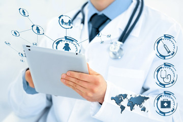 Doctor with tablet closeup. Medical technology concept