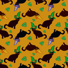 Seamless pattern with black cat in witch hat. Vector clip art.